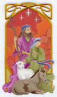 ART NOUVEAU NATIVITY SHEPHERDS  MACHINE EMBROIDERED QUILT BLOCK AZEB