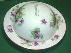 Royal Chelsea Fine Bone China Covered Round Butter Dish Violets Gold Trim