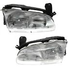 Headlight Set For 93 94 95 96 97 Geo Prizm Left and Right With Bulb 2Pc