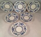 Enoch Wedgwood Blue Heritage Saucers - (SIX) - BLUE ONION DANUBE PATTERN