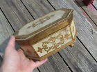 Antique Vintage Florentine Wooden Shabby Jewelry Chic White Gold Music Box