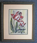 Original Watercolor Floral Red Tulip Matted and Framed with Black Wood Frame