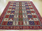 7x11 Persian Isfahan Garden Design Hand Knotted Wool Ivory Red Fine Oriental Rug