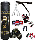 MADX 15 Piece Boxing Set 5ft Filled Heavy Punch Bag GlovesChainsBracketKick