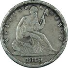 1846-O Seated Liberty Half Dollar RPD, REPUNCHED DATE! rare type coin old money