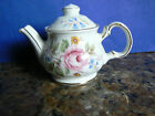 SADLER MINIATURE FLORAL TEAPOT -- WHITE WITH GOLD TRIM -- MADE IN ENGLAND
