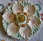 SPLENDID ANTIQUE RARE MAJOLICA OYSTER PLATE WITH HANDLE