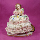 Volkstedt German Porcelain Dresden Lace Lady with Mandolin Figurine