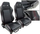 NEW 2 BLACK + RED STITCH LEATHER RACING SEATS RECLINABLE ALL CHEVROLET