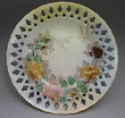 Occupied Japan Hand Painted Small Reticulated Bowl Signed Pink Yellow Roses Gold