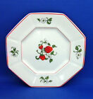 Octagonal Salad Plate Fitz Floyd FRAISE DE BOIS Strawberries Red Trim Blossoms