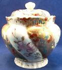 Antique Asian Hand Painted Porcelain Tea Jar Red  Encrusted Pink Flowers Biscuit