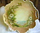 ANTIQUE CHINA CAKE PLATE - 2 Handles, DAISIES + Signed Marianne DeWitt