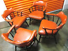 Lot of 4, Vintage Leather Wood Orange Chair (Nail Head Detail) Great Design