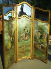 Antique French Carved Wood Oil on canvas/mirrors  3 panels dressing Screen