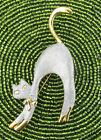 COSTUME JEWELRY ARCHED BACK SCARY CAT GOLD AND SILVER BROOCH PIN