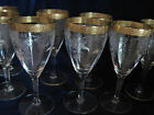 8 - BEAUTIFUL WINE GOBLETS -ETCHED DESIGN by TIFFIN - GOLD GILT  C. 1930