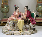LG Antique Dresden Lace Volkstedt Wine Courting Couple Porcelain Figurine Group