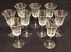 9 Antique Floral Etched Crystal Wine or Water Goblets