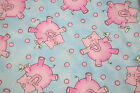 Snuggle Flannel fabric Pink Elephants with cocktale drinks 1 yard
