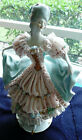 VINTAGE GERMAN LADY FIGURINE IN LACE DRESS ADORNED w/FLOWERS & GOLD LEAVES