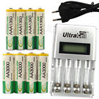4 AA + 4 AAA 1350mAh 3000mAh NiMH 1.2V Rechargeable Battery EU LCD Charger BTY