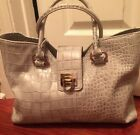 Ivanka Trump Croc Embossed Gray Medium Top Handle Satchel Purse Handbag