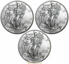 Lot of 3 Coins 2014 1 oz American Silver Eagle GEM BU Coins 999 Fine Silve