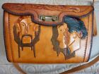 Vintage 1940s 1950s Hand Tooled Tan Leather Chinese Face Fishing Handbag Purse