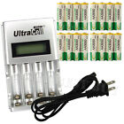 16 x AA 2A 3000mAh Ni-MH 1.2V Volt Rechargeable Battery US LCD Charger Green BTY