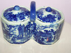 Victoria Ware Ironstone double lided w/ center handle blue/white