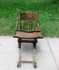 Antique Wood High Chair/Stroller Ornate Press Back;Turned Spindles,Swing Tray;Wh