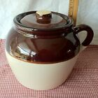 VTG USA Stoneware Brown & Tan Glaze Single Handle Crock Jar Bean Pot