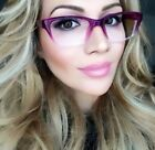 Sexy Teacher Slim Wayfarers Purple Clear Trendy Hot Eyeglasses Frames 001 PRP.GR