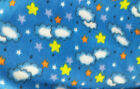 Blue Sky Fleece, Stars and Clouds Print, 5 Yards