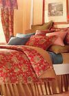 NEW CHAPS HOME by RALPH LAUREN 3PC DUVET COMFORTER COVER SET RED FLORAL PAISLEY