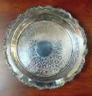 EPCA Old English SilverPlate Ornate Etched Floral Design Round Tray by Poole