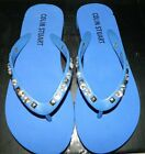 VICTORIA'S SECRET NEW Blue Rhinestone/Stud Accent Thong Flip Flop Sandal Shoes 6