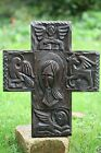 SUPERB 19thC GOTHIC WOODEN CROSS WITH HEAD OF CHRIST of CONVENT ORIG. c1890