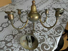 Vintage Brass Ceiling Light Fixture with Etched Shades