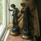 Beautiful Old Antique Spelter Pair of French Art Nouveau Fisher Fishing Figures