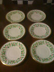 Lenox Holiday Pattern - 6 Saucers Only - Holly Leaves and Berries w/ Gold Edging