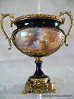ANTIQUE FRENCH SEVRES HP PORCELAIN GILT METAL CENTERPIECE BOWL ARTIST SIGNED 19C