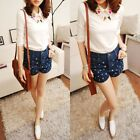 Womens Casual Ancient Summer Stars Denim Pants Shorts Trousers With Pockets New