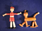 VINTAGE 1930s Jaymar LITTLE ORPHAN ANNIE & DOG SANDY Wood Jointed String Toy HTF