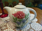 EMERSON CREEK POTTERY 1992 TEAPOT WHITE W/HAND PAINTED FLOWERS BEDFORD VA