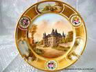 ANTIQUE FRENCH SEVRES PORCELAIN HP CABINET PLATE OF CHATEAU GALLERANDE 19 C RARE