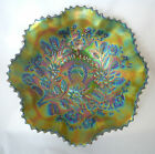 Stunning Northwood Carnival Glass Good Luck Purple Ruffled Bowl