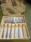 Vintage! In Original Box~Set of Six Sheffield England Silverplated Pastry Forks