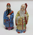 Set of (2) Chinese Porcelain Confucius w/ Staff  / Man Figurine Statues  6